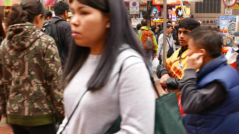 Indian promotion boy portrait on the busy market street Stock Video Footage