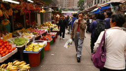 Walking on fruit and vegetable market in the daytime Stock Video Footage