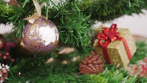 Decoration of Christmas tree old broken ball. Pan Stock Video Footage