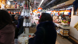 Quick side view of the walkway of indoor food (fish &... Stock Video Footage