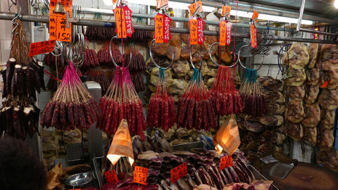 Range of dried meat products in the market, chinese sausage Footage