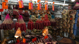 Range of dried meat products in the market, chinese sausage Stock Video Footage