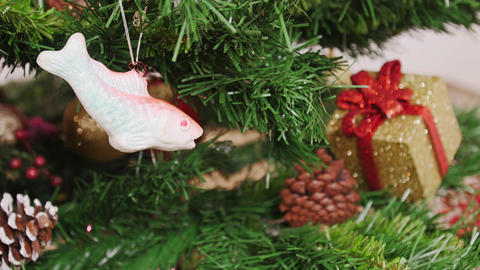 Decoration of Christmas tree fish toy Footage