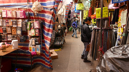 Narrow side footpath on the street market, people on the way Stock Video Footage