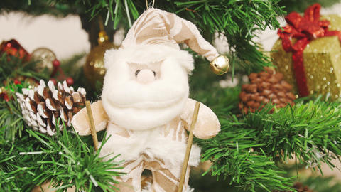Decoration of Christmas tree Santa Claus on skis Stock Video Footage
