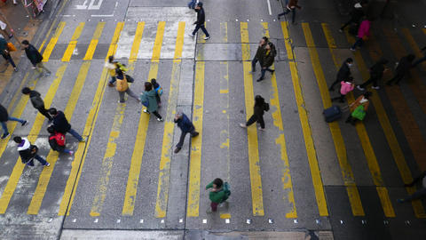 General view of wide crosswalk from the top point. People... Stock Video Footage