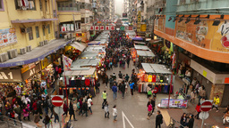 Wide angle view on the street with shopping stalls Stock Video Footage