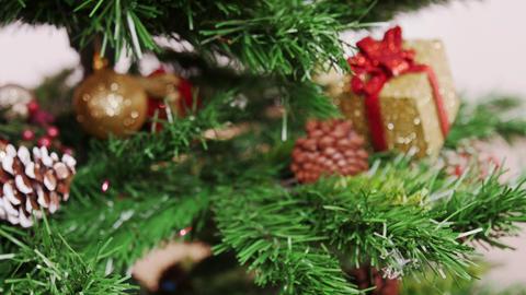 Decoration of Christmas tree purple flower toy Stock Video Footage