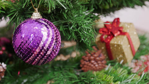 Decoration of Christmas tree Purple ball Stock Video Footage