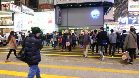 Pedestrian crossing on the night street of HongKong Stock Video Footage