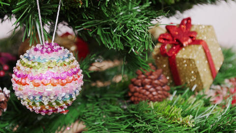 Decoration of Christmas tree colorful ball. Pan Stock Video Footage