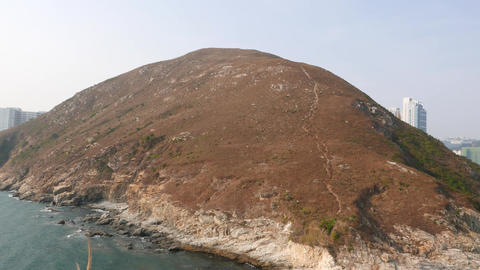 Ap Lei Chau island panoramic view, pan right shot Footage
