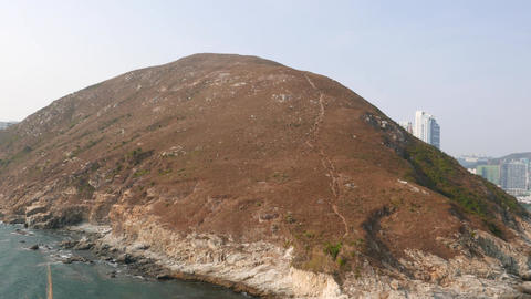 Ap Lei Chau island panoramic view, pan right shot Stock Video Footage
