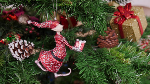 Decoration of Christmas tree gnome toy. Pan Stock Video Footage