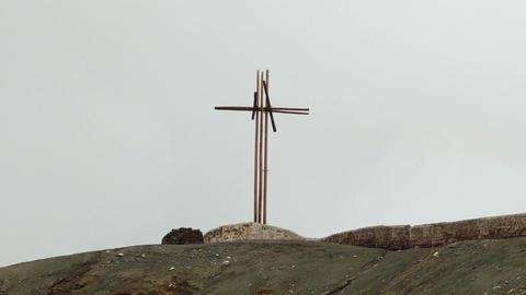 Cross at hill of Masaya vulcano Footage