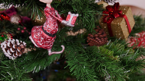 Decoration of Christmas tree gnome toy Stock Video Footage