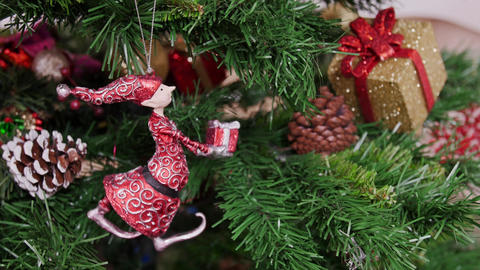 Decoration of Christmas tree gnome toy Footage
