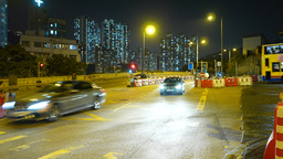 Real time traffic on night street. Roadworks in the area Stock Video Footage