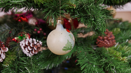 Decoration of Christmas tree old white ball Stock Video Footage