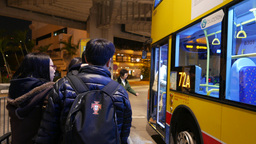 People boarding to the regular bus, POV view from queue Stock Video Footage