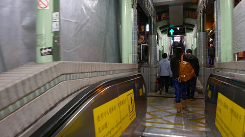 Connection between two escalators, mid-levels Stock Video Footage