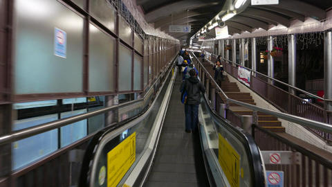 Walking up the mid-levels-central travellator Stock Video Footage