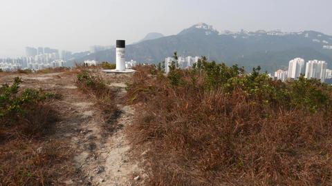 Geodesic Mark, Triangulation Column On Top Of Mountain, Ap Lei Chau Island stock footage
