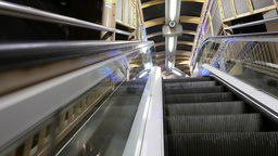 Side view from the moving escalator, upper perspective Stock Video Footage