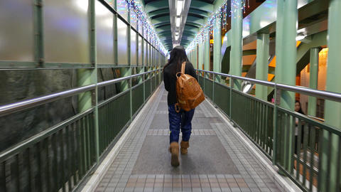 Pedestrian passage in mid-levels escalators system Stock Video Footage