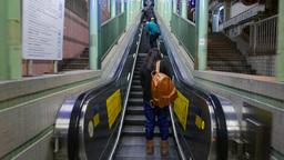 Pedestrian passage in mid-levels escalators system Footage