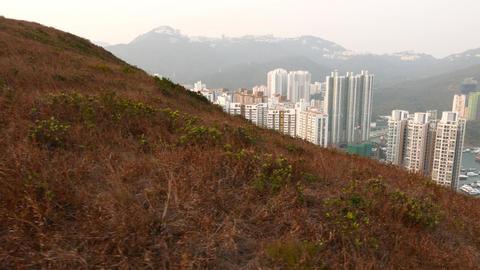 Ap Lei Chau sleeping quarters behind dry grass hillside in motion Footage