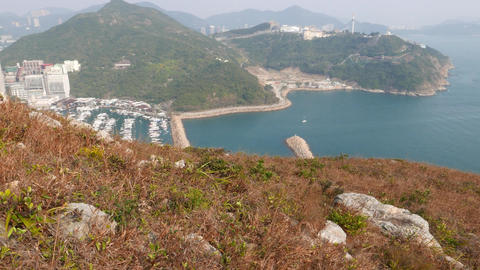 Panoramic view from Ap Lei Chau island mountain peak,... Stock Video Footage