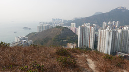 Many buildings next to hill edge, breathtaking view from... Stock Video Footage