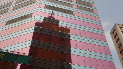 Christian Church building silhouette reflection at curtain wall glass Footage