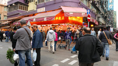 Street fruit shop on the crossroad, walking to Stock Video Footage