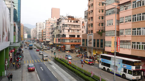Yen Chow street perspective, Hong Kong. Different house... Stock Video Footage