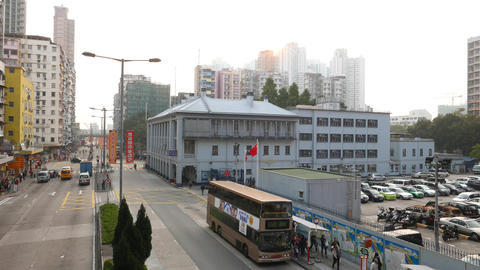 Police station building at city street, perspective look Stock Video Footage