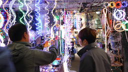 Quick walk around led illumination stall Stock Video Footage