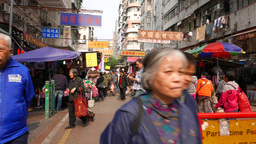 Entering pedestrian only area on street market Footage