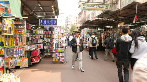 Authentic market street of HongKong with sound, FPV Stock Video Footage
