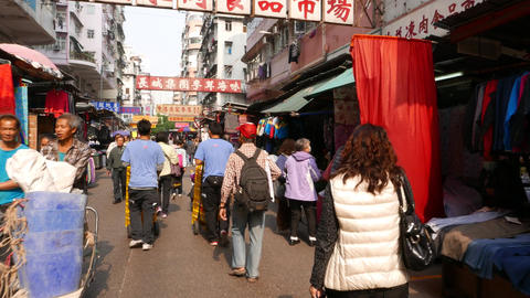 POV struggle forward along usual crowded street, cheap... Stock Video Footage