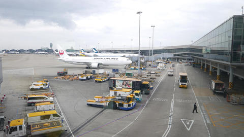 JAL airplane towed at ramp area, International airport... Stock Video Footage