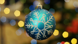 Christmas blue ball shakes at background bokeh Stock Video Footage
