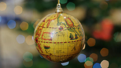 Globe earth blue ball rotates at background bokeh Stock Video Footage