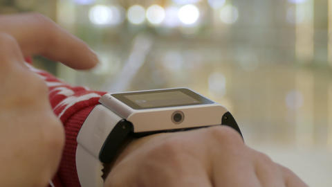 Woman Using Her Smart Watch , Indoor HD Footage