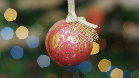 Christmas red ball shakes at background bokeh Stock Video Footage