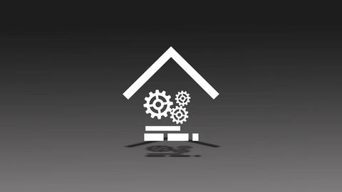 Mechanical gear home animation for intro and logo reveal - 1