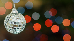 Mirror ball at bokeh lights. Title area Stock Video Footage