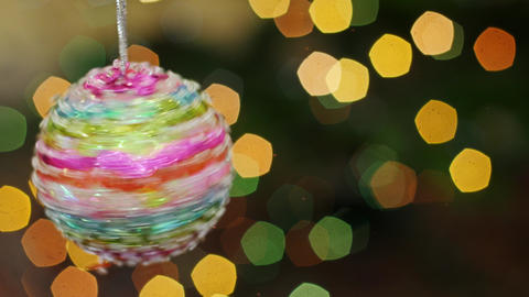 Colorful ball rotate at bokeh. Title area Stock Video Footage