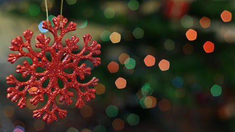 Christmas snow toy shakes at bokeh. Title area Stock Video Footage